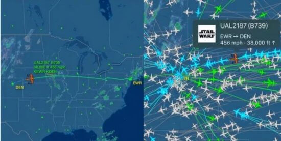 United Star Wars themed plane tracking map