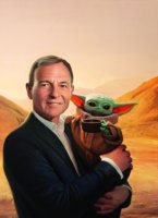 """Iger's """"Baby Yoda"""" oil painting from Time Magazine"""