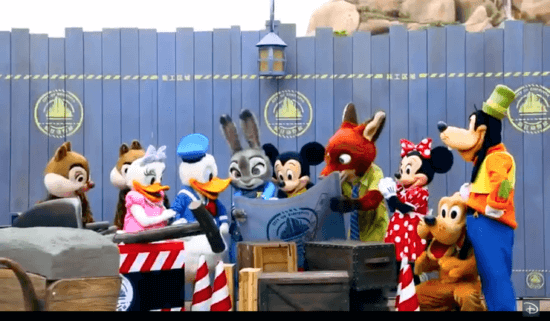 Mickey and all his pals gather around the Zootopia Blue Prints