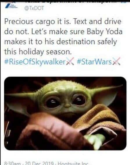 Baby Yoda Wins the We TX DOT