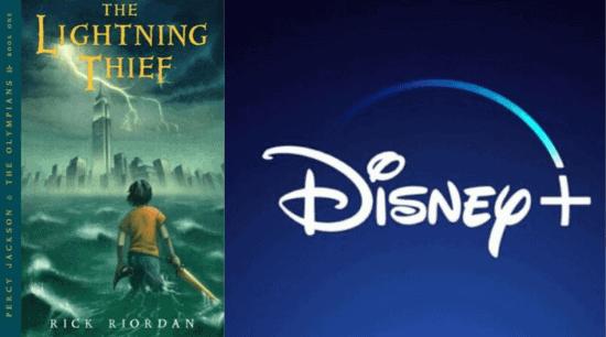 """""""The Lightning Thief"""" Cover; Disney+ Logo"""