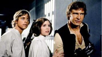 luke skywalker, leia organa, han solo (left to right) in star wars a new hope