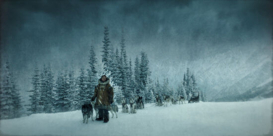 Willem Defoe on set with sled dogs