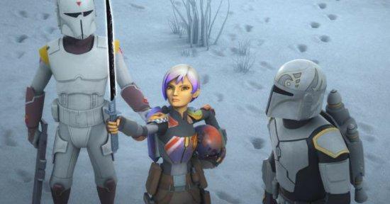 Sabine handing off the Darksaber, Star Wars Rebels