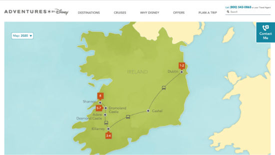 Highlight Map of Adventures by Disney's Ireland package