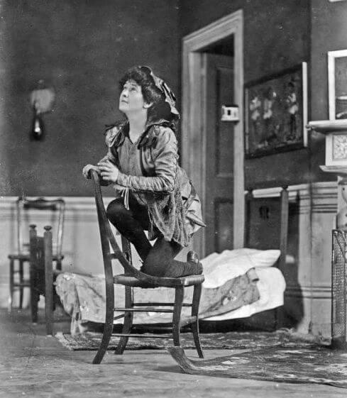 Nina Boucicault on stage as Peter Pan