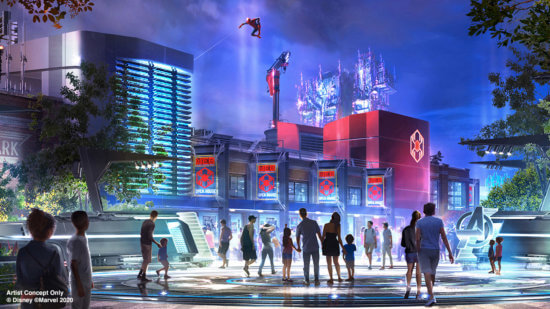 Concept Art featuring Spider-Man Swinging above the rooftops of Avengers Campus