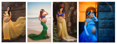 Disney princess maternity shoot collage