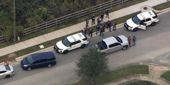 Scene of the arrest via helicopter