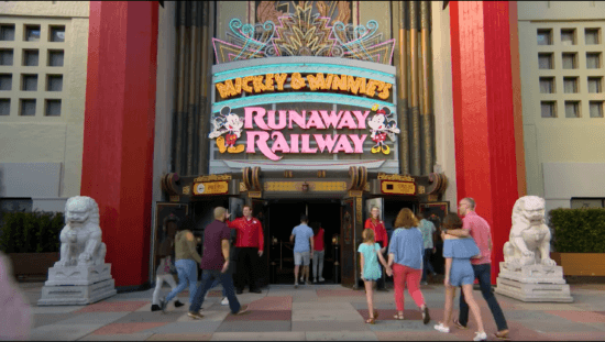 Mickey and Minnie's Runaway Railway Sign on the Chinese Theater
