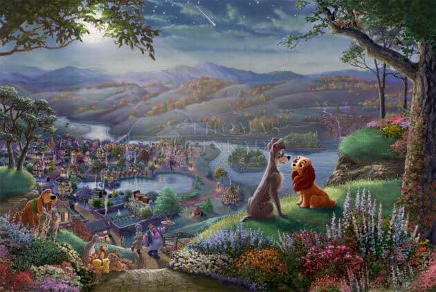 Thomas Kinkade Studios - Disney Lady and the Tramp Falling in Love