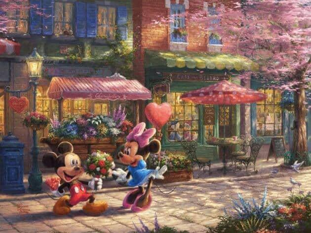 Thomas Kinkade Studios - Mickey and Minnie Sweetheart Cafe