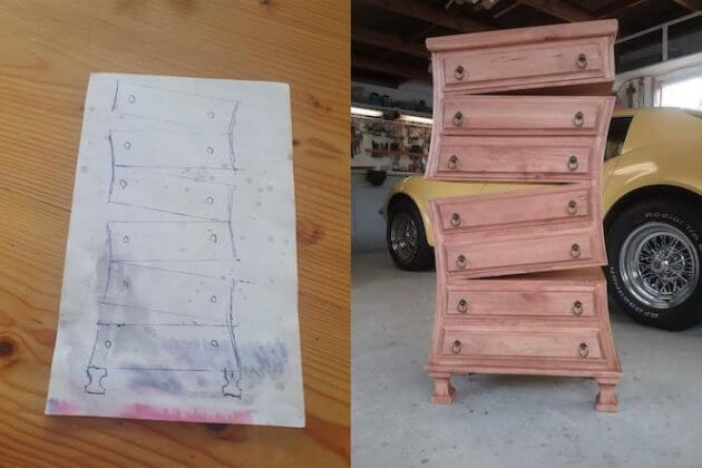 blueprint idea and finished product broken dressers