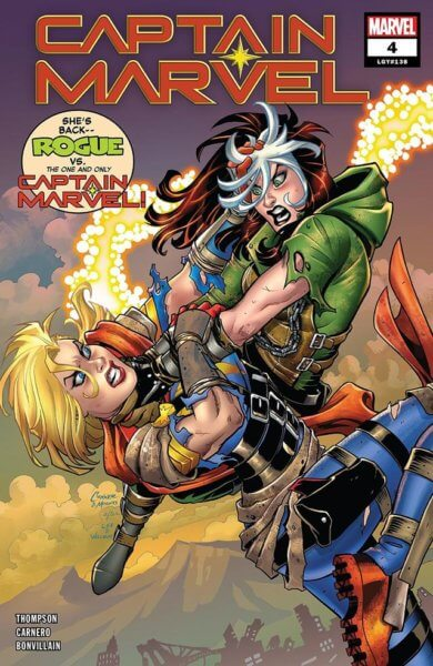 Marvel Comic of Captain Marvel fighting Rogue