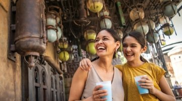 Mom and daughter at Galaxy's Edge Milk Stand