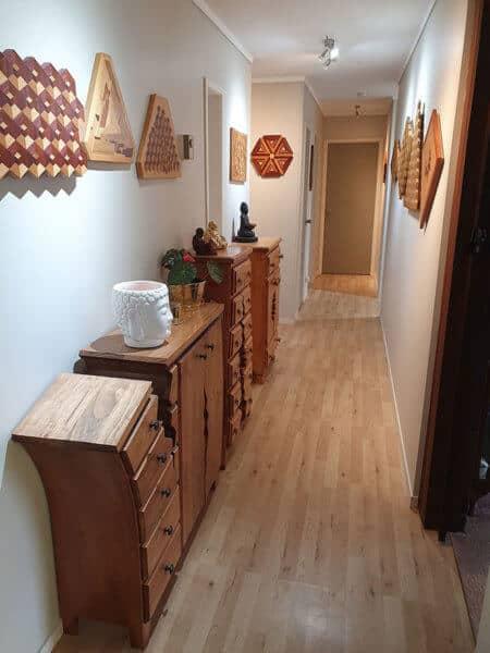 henk's hallway with his creations