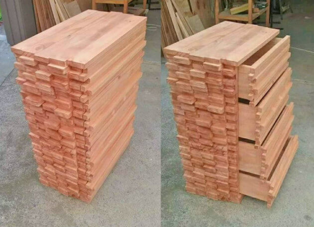 lumber dresser with hidden drawers