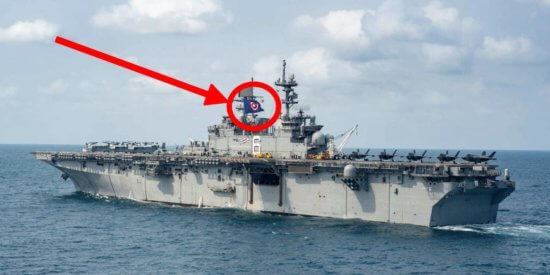 The USS America with Captain America Flag