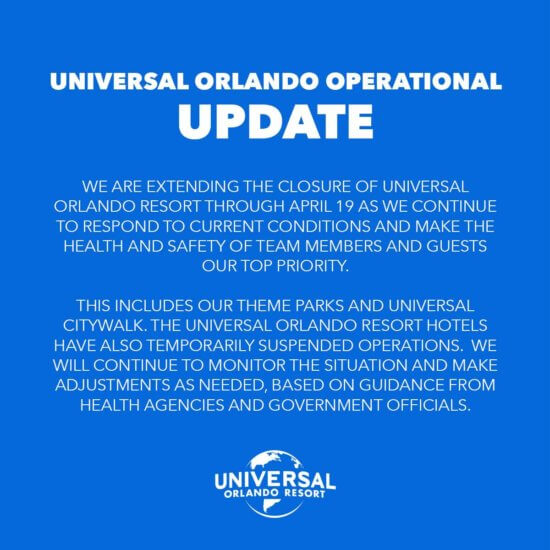 Universal Orlando Resort Closure Update