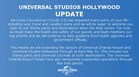 Universal Studios Hollywood Closed through May 31