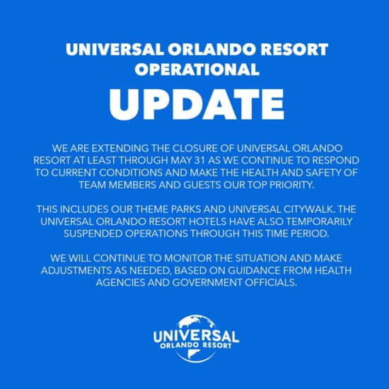 Universal Studios Orlando Closed through May 31