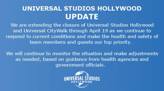 Universal Studios Hollywood Closure Update