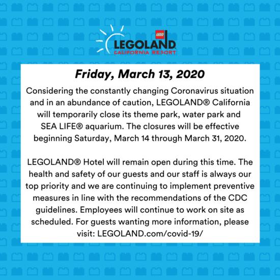 Legoland California Resort Closure Statement