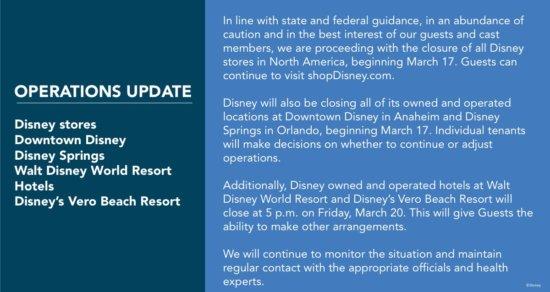Downtown Disney and Disney Springs Closure Update