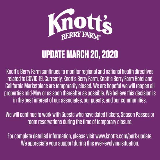 Knott's Berry Farm Closure Update