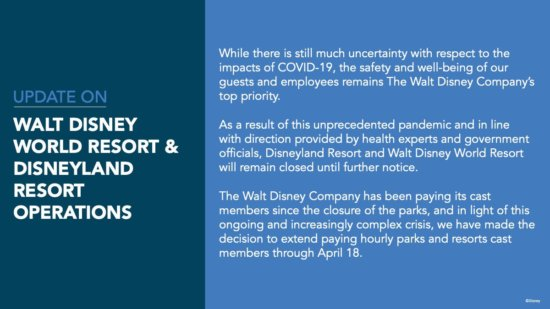 Disney Parks and Resorts Closure Update