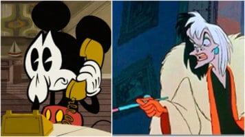 Sad Mickey on phone and cruella de vil