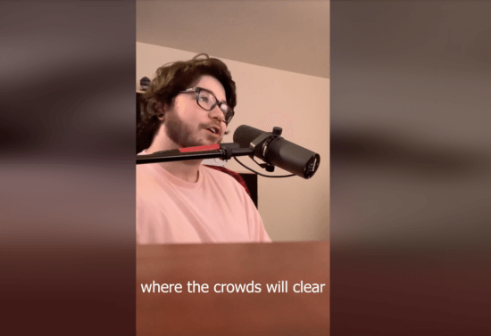 Clay Agnew singing from home