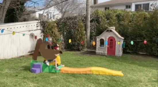 Disney Family Day - backyard slinky dog slide