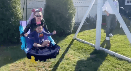 Disney Family Day - backyard Aladdin magic carpet ride