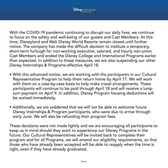 Disney Suspends Internship Programs
