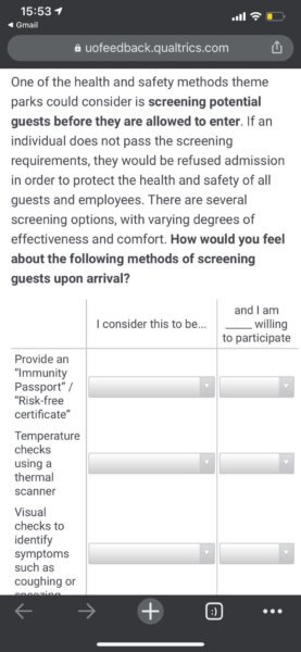 Universal Orlando Survey