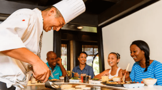 Teppan Edo chef cooking for guests