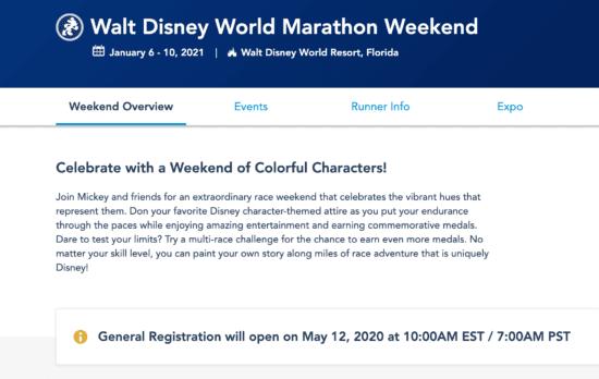 runDisney Marathon registration notice