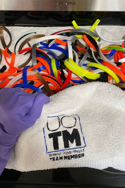 Freshly made face shield head bands with a Universal Orlando Team Member towel