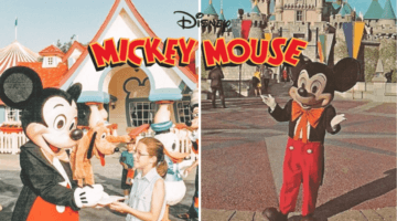 vintage mickey mouse at disneyland and disney world