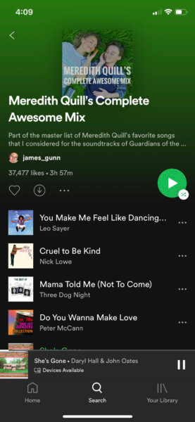 james gunn spotify playlist for unused songs from guardians of the galaxy