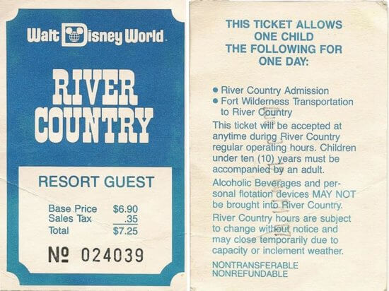 Disney's River Country ticket