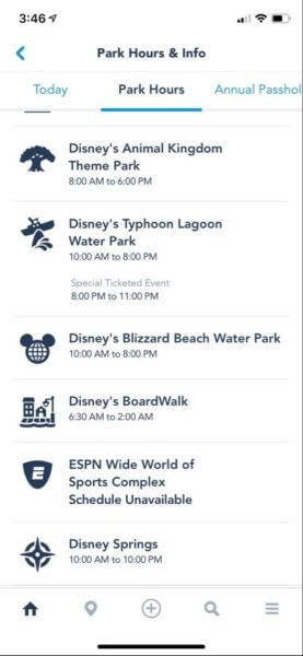disney world reduced operating hours