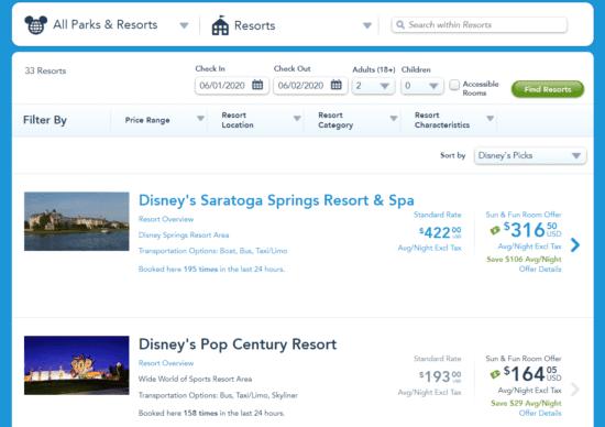 disney world online hotel booking