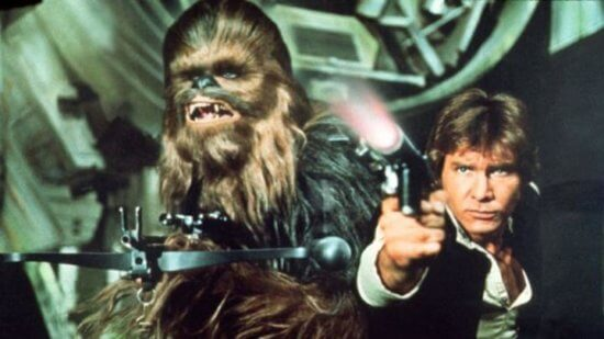 Harrison Ford and Chewbacca