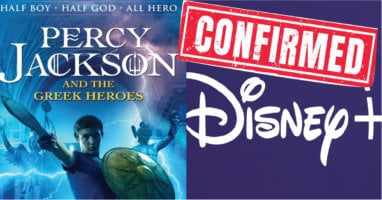 Cover featuring disney+ logo and Percy Jackson cover art.