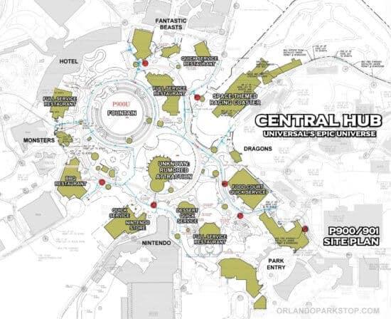 Epic Universe Central Hub Site Plan