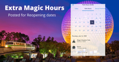 Extra Magic Hours Posted WDW Reopening