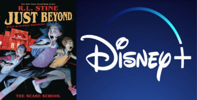 Features Disney+ Logo and Just Beyond cover art.