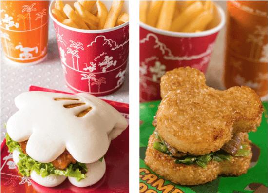 Mickey Glove Burger and Mickey-shaped Rice Ball Sandwich